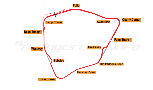 Map of Castle Combe, Bike circuit 1999 to date