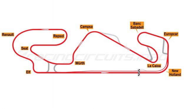 Map of Circuit de Catalunya, Motorcycle Grand Prix Circuit 2007-2016