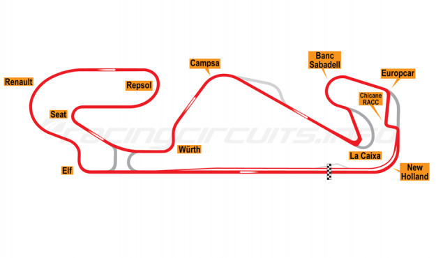 Map of Circuit de Catalunya, Grand Prix Circuit 2007-2016