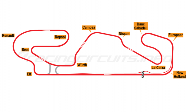 Map of Circuit de Barcelona-Catalunya, Grand Prix Circuit 1991-93