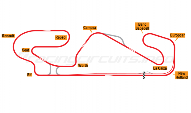 Map of Circuit de Barcelona-Catalunya, Grand Prix Circuit 1995-2003