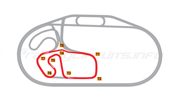 Map of Charlotte Motor Speedway, Short Infield Road Course 2015 to date
