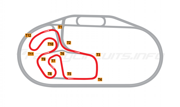 Map of Charlotte Motor Speedway, Infield Road Course 2015 to date