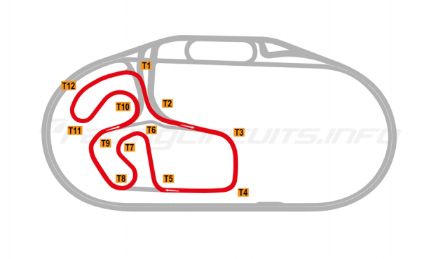 Map of Charlotte Motor Speedway, Infield Road Course 2018