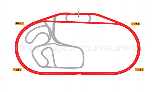 Map of Charlotte Motor Speedway, Oval Superspeedway 2015-17