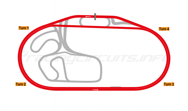 Map of Charlotte Motor Speedway, Oval Superspeedway 2018