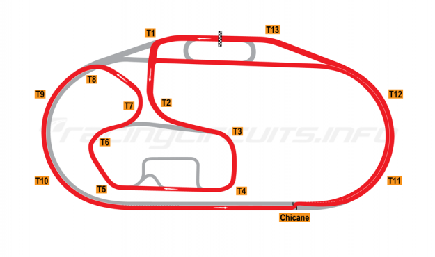 Map of Charlotte Motor Speedway, Road Course with chicane (ALMS 2000) 1994-2003