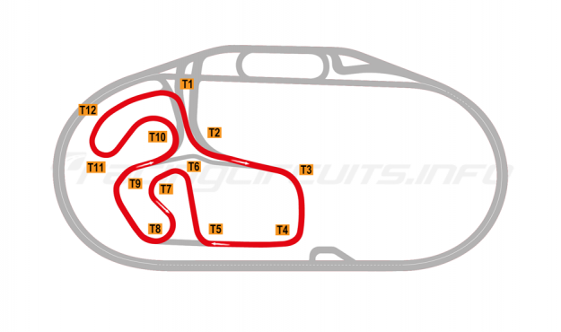 Map of Charlotte Motor Speedway, Infield Road Course 2019 to date