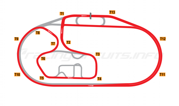 Map of Charlotte Motor Speedway, Road Course 2012-14