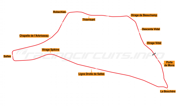 Map of Chimay, Grand Prix Circuit 1965-74