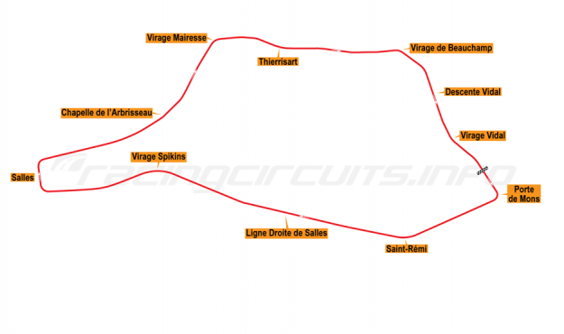 Map of Chimay, Grand Prix Circuit 1975-79