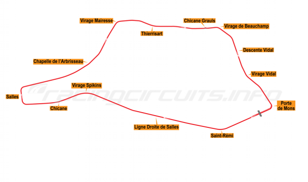 Map of Chimay, Car Grand Prix Circuit 1985-89