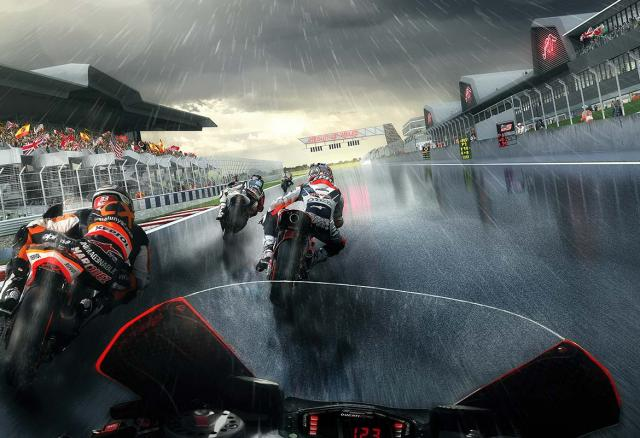 An artists' impression of MotoGP racers on the Circuit of Wales