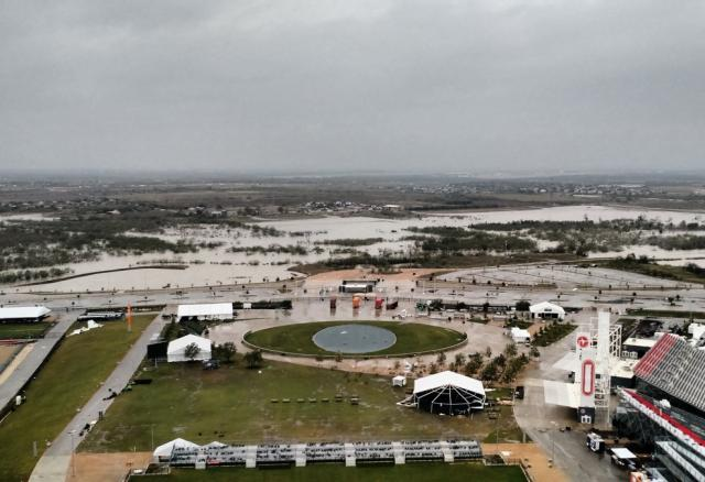An aerial view of storm damage at Circuit of the Americas