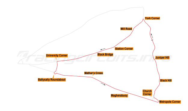 Map of Coleraine, Triangle Circuit 1983-87