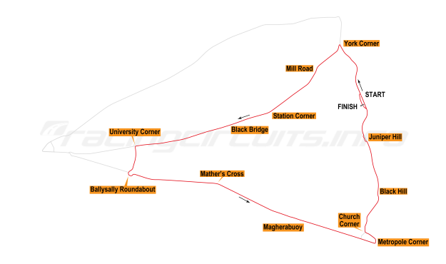 Map of Coleraine, Triangle Circuit 1988-95