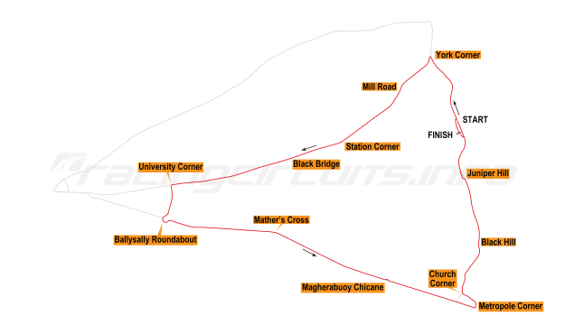 Map of Coleraine, Triangle Circuit 1996-97