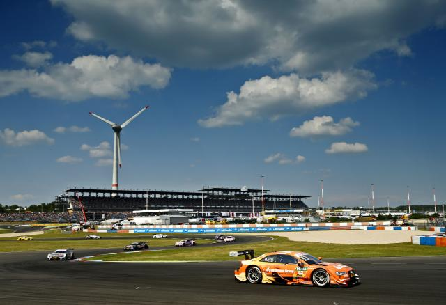 A DTM car laps the Lausitzring