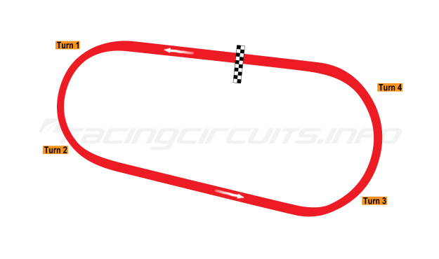 Map of Darlington Raceway, Oval course 1953-60