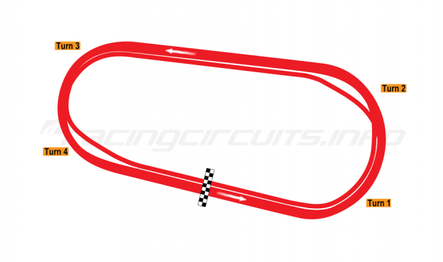 Map of Darlington Raceway, Oval course 1997-98