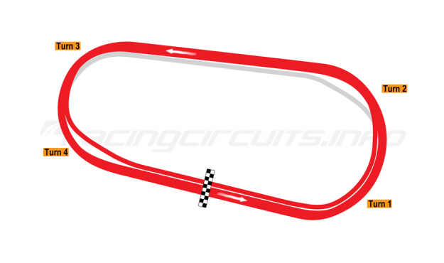 Map of Darlington Raceway, 1999 to date