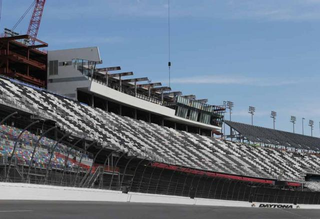 The front facade of the Sprint Tower is removed at Daytona International Speedway