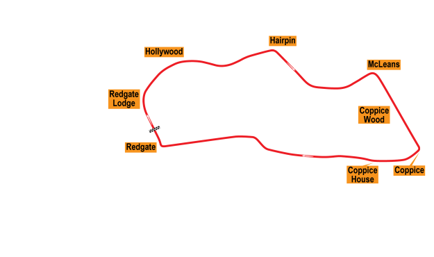 Map of Donington Park, Grand Prix Circuit 1931-34