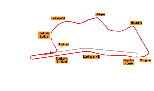 Map of Donington Park, Grand Prix Circuit 1935-36