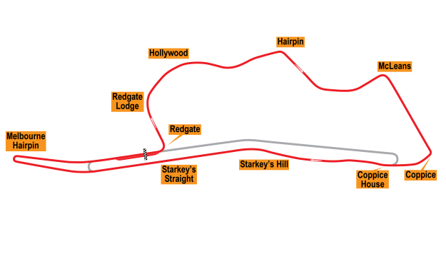 Map of Donington Park, Grand Prix Circuit 1937-39
