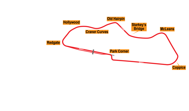Map of Donington Park, Grand Prix Circuit 1977-85