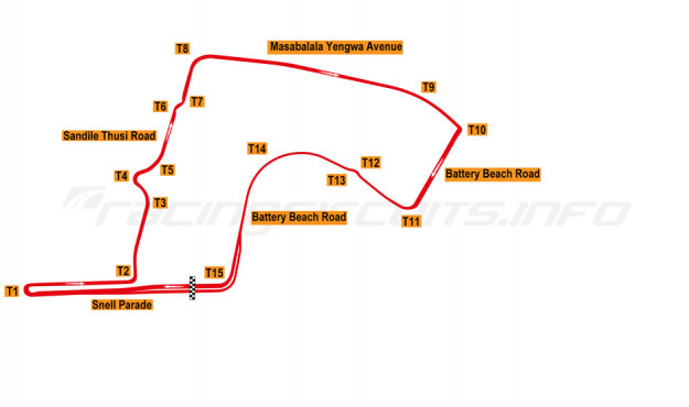 Map of Durban, A1 Grand Prix circuit 2006-08