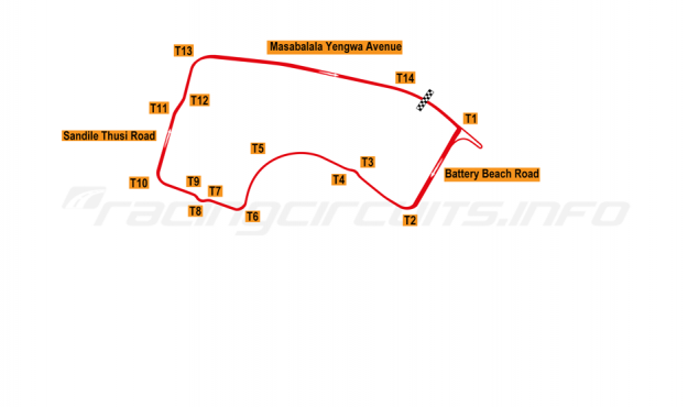 Map of Durban, Top Gear Festival circuit 2012