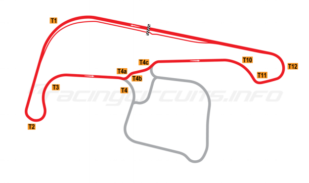 Map of Sydney Motorsport Park, North Circuit 1990-2011