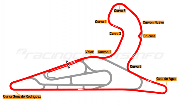 Map of El Pinar, Circuit No. 1 with extension and chicane 2017 to date