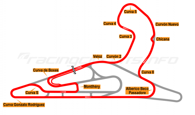 Map of El Pinar, Circuit No. 2 with extension, chicane and