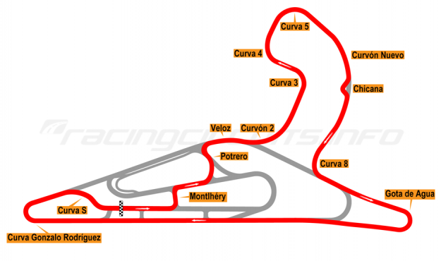 Map of El Pinar, Circuit No. 5 with extension and chicane 2017 to date