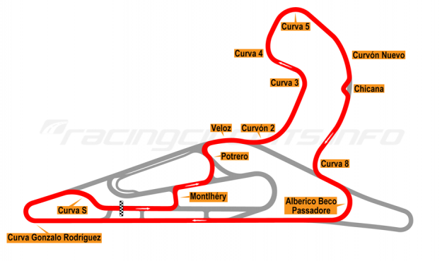 Map of El Pinar, Circuit No. 5 with extension, chicane and