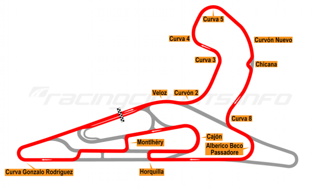 Map of El Pinar, Circuit No. 7 with extension, chicane and