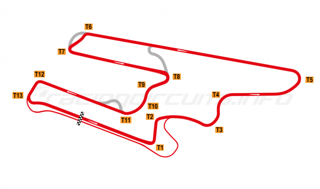 Map of El Villicum, Grand Prix Circuit with TC bypass 2019 to date
