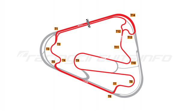 Map of Lausitzring, Grand Prix course 2008-17
