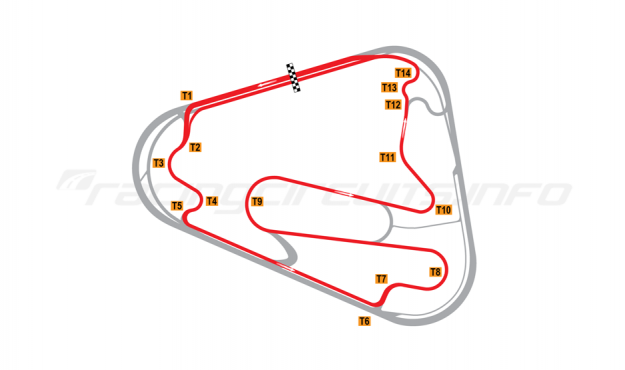 Map of Lausitzring, Motorcycle Grand Prix course 2008 to date