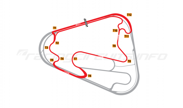 Map of Lausitzring, DTM short course 2008-17