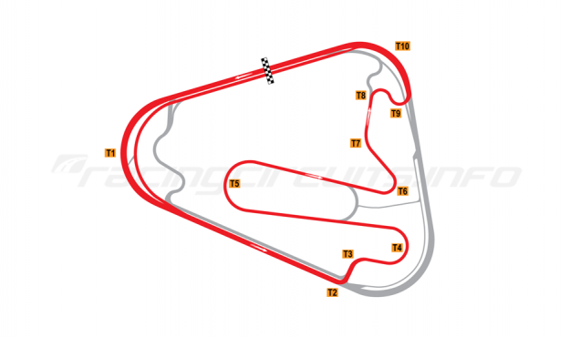 Map of Lausitzring, Grand Prix course with oval Turn 1 2000-04
