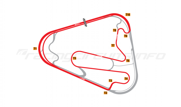 Map of Lausitzring, Grand Prix course with oval Turn 1 2005-07