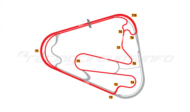 Map of Lausitzring, Grand Prix course with oval Turn 1 2008 to date