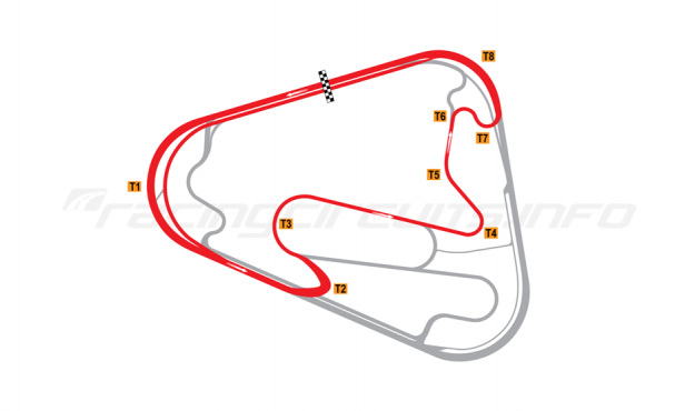 Map of Lausitzring, Short course with oval Turn 1 2005-07