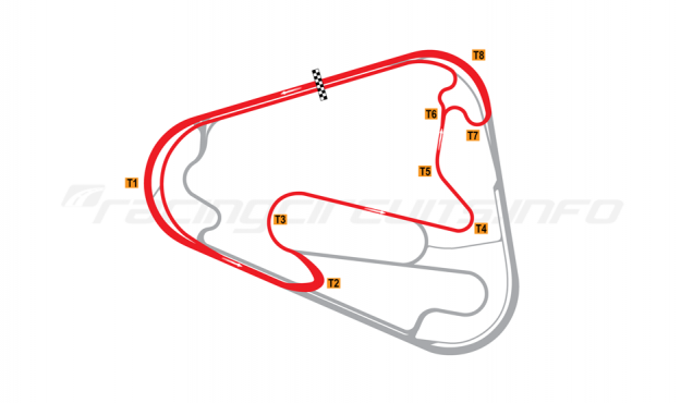 Map of Lausitzring, Short course with oval Turn 1 2008 to date