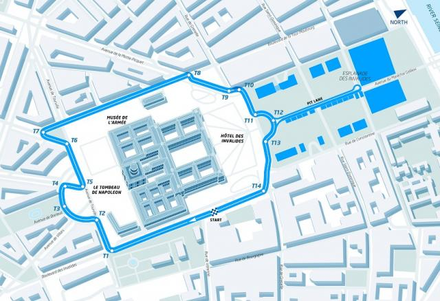 Map of the provisional Paris Formula E Circuit
