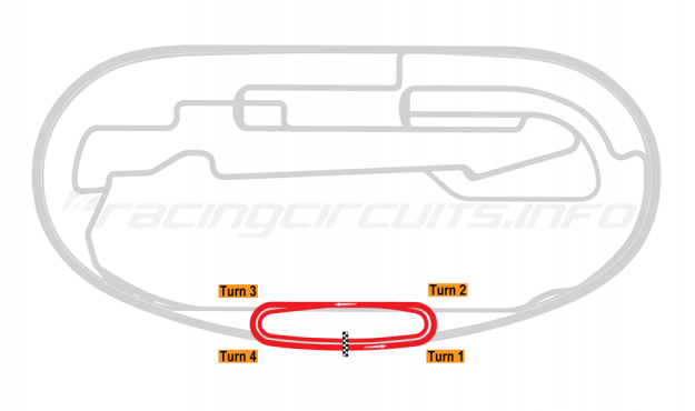 Map of Auto Club Speedway, Fontana, 2023 'Next Gen' Oval Proposal Overlay 2001 to date