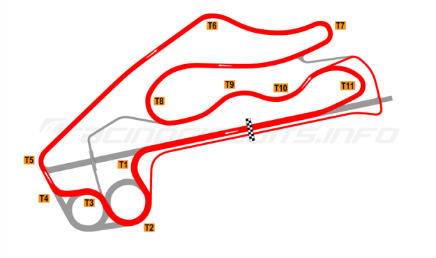 Map of Fort Grozny Autodrom, Alternative circuit 2015 to date